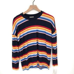 NEW Style & Co crewneck soft Sweater top Blue colorful rainbow Stripe S women's